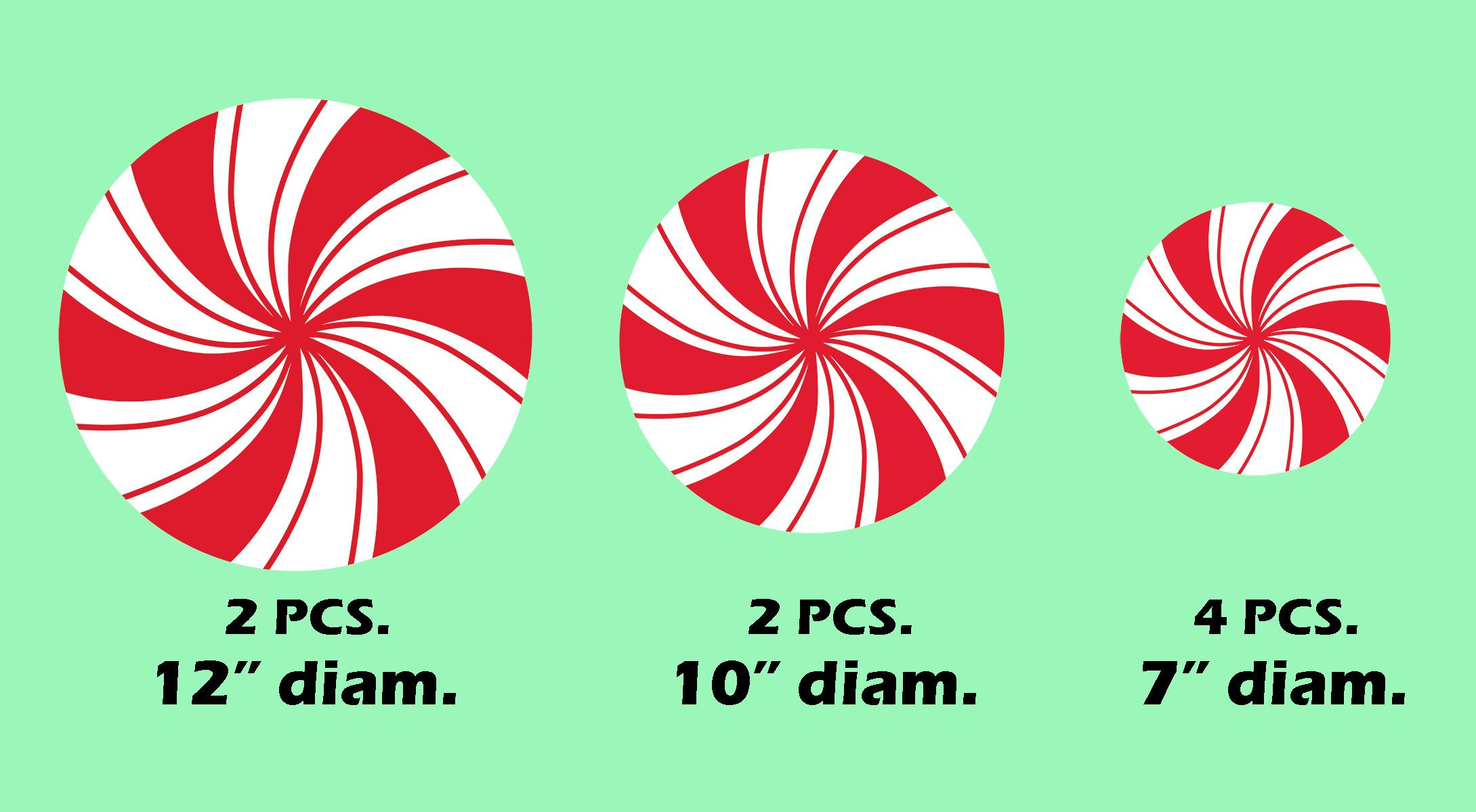 Peppermint Floor Decals Stickers for Christmas Candy Party Decoration 8 Pcs by ceiba tree (Image #2)