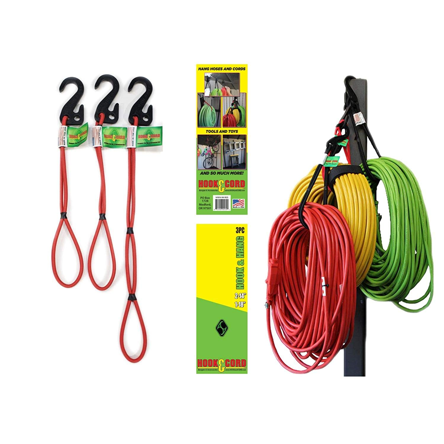 Hook Hang Storage Organizer Cords PACK of 3 Hook Hang tools almost anywhere Also Hang Hoses Cords Ladders Brooms Shovels Bikes More. An Incredible Organizer Red