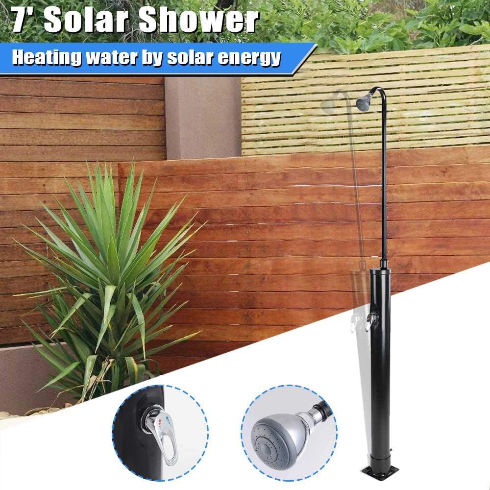 LAGarden 7 1//2Ft 2-Section Foldable Solar Heated Shower with Sprinkler Head Outdoor Backyard Poolside Beach Pool Spa