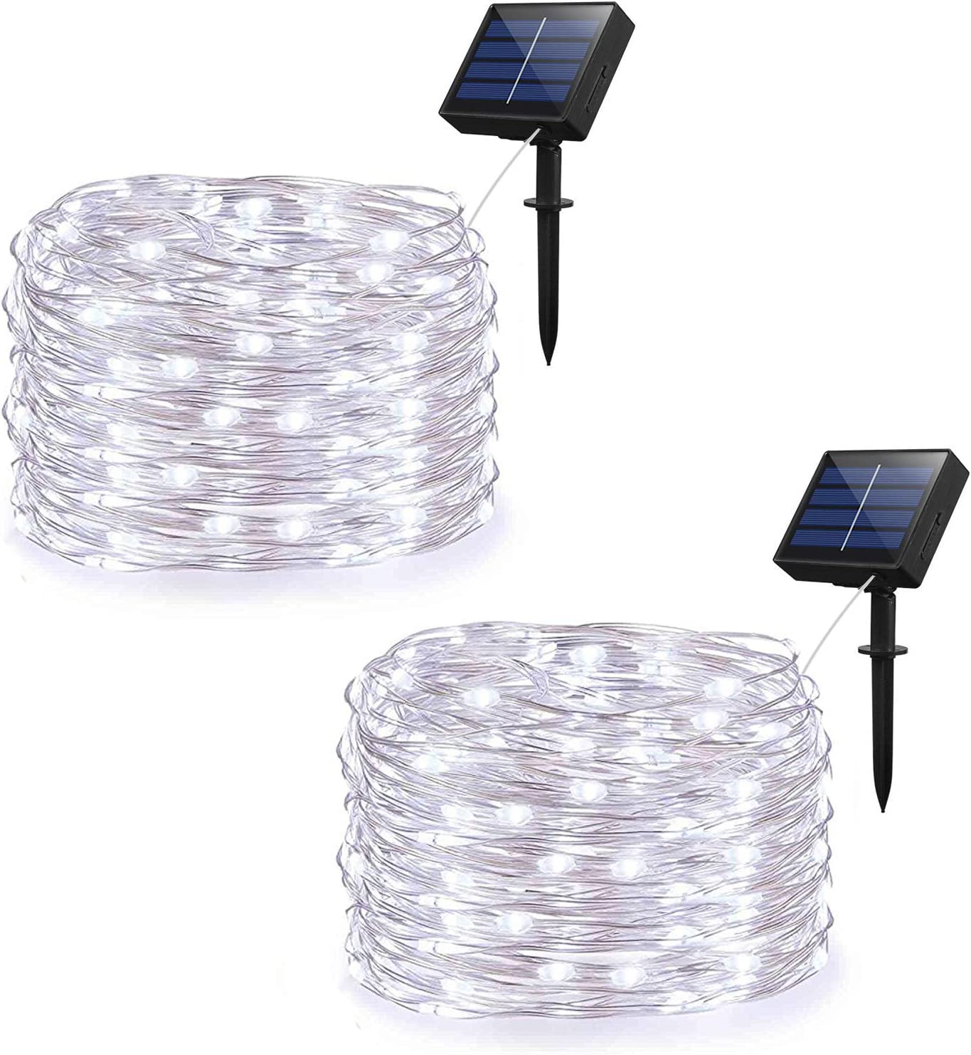 Weepong Solar String Lights Outdoor String lights with 100 LEDs 33ft Silver Copper Wire 8 Mode Waterproof Solar Starry Lights for Halloween Christmas Decoration Wedding Garden Patio(Cold White 2 Pack)