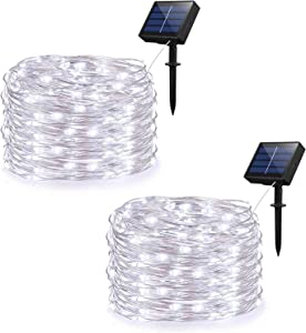 Zezuxy Solar String Lights, 2 Pack Outdoor String Lights with 8 Modes 100 LEDs 33ft Silver Wire, Waterproof Solar Powered Fairy Lights for Garden Gate Yard Patio Dancing Party Trees (Cold White)