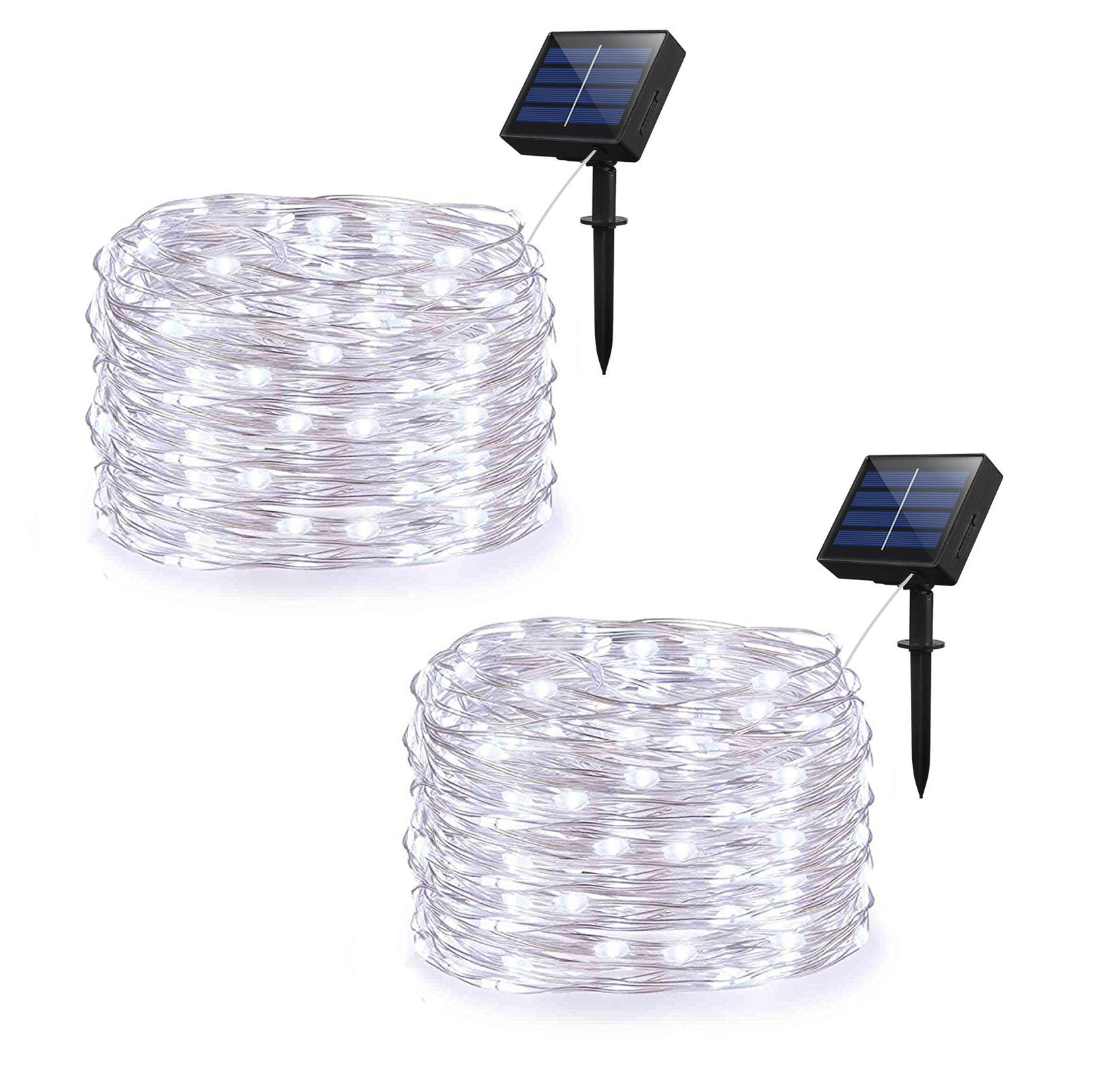 Adecorty Solar String Lights, Outdoor Starry Fairy String lights with 100 LEDs 33ft Silver Copper Wire 8 Mode Waterproof for Wedding Garden Home Birthday Party Patio Lawn Trees (Cold White 2 Pack) by Adecorty