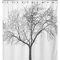 WoneNice Waterproof Fabric Shower Curtain with Tree Design, 72 x 72 Inch
