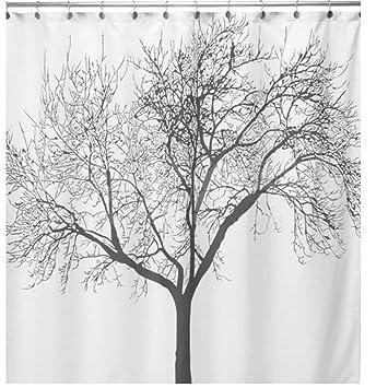 Amazoncom Wonenice Mold Resistant Fabric Shower Curtain With Tree