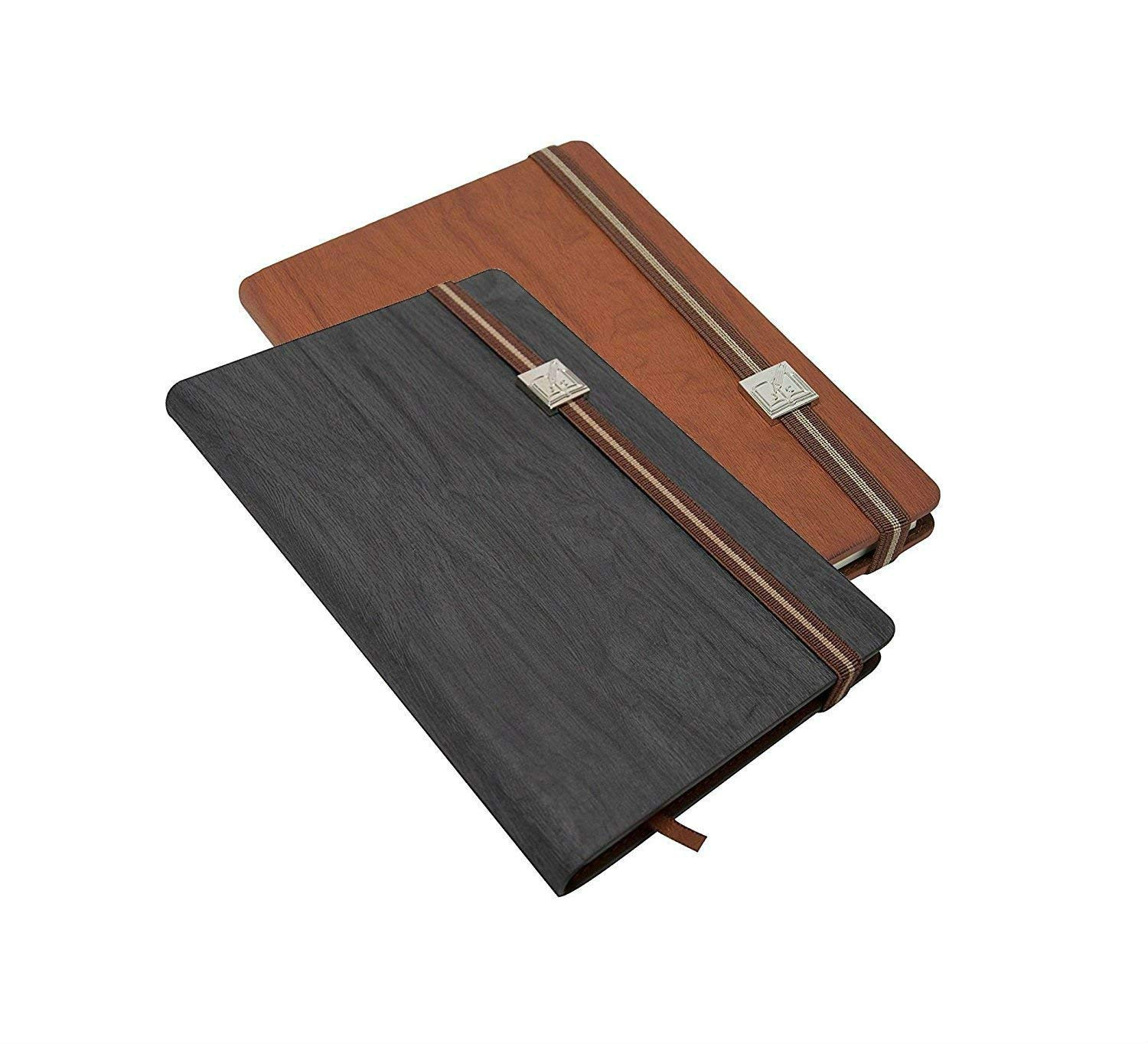 2 Pack Wood Grain Travel Journal (Black/Brown Set) 5 x 8 Inch Paper Notebook Writing Pad
