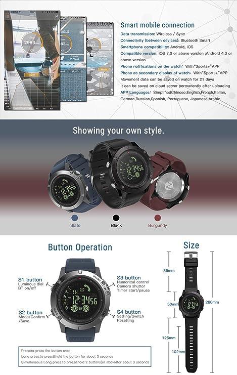aaerp T1 Tact Watch - Reloj Inteligente Deportivo Super Resistente de Grado Militar para Hombres y Mujeres