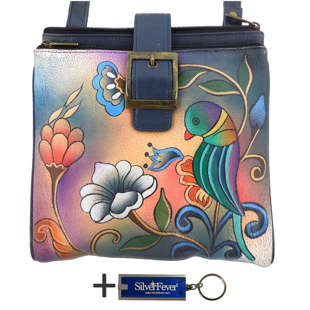 Anna By Anuschka Travel Organizer Purse - Hand Painted Design on Real Leather Crossbody Handbag - Free Key Chain … (3 Copm Portugise Parrot)