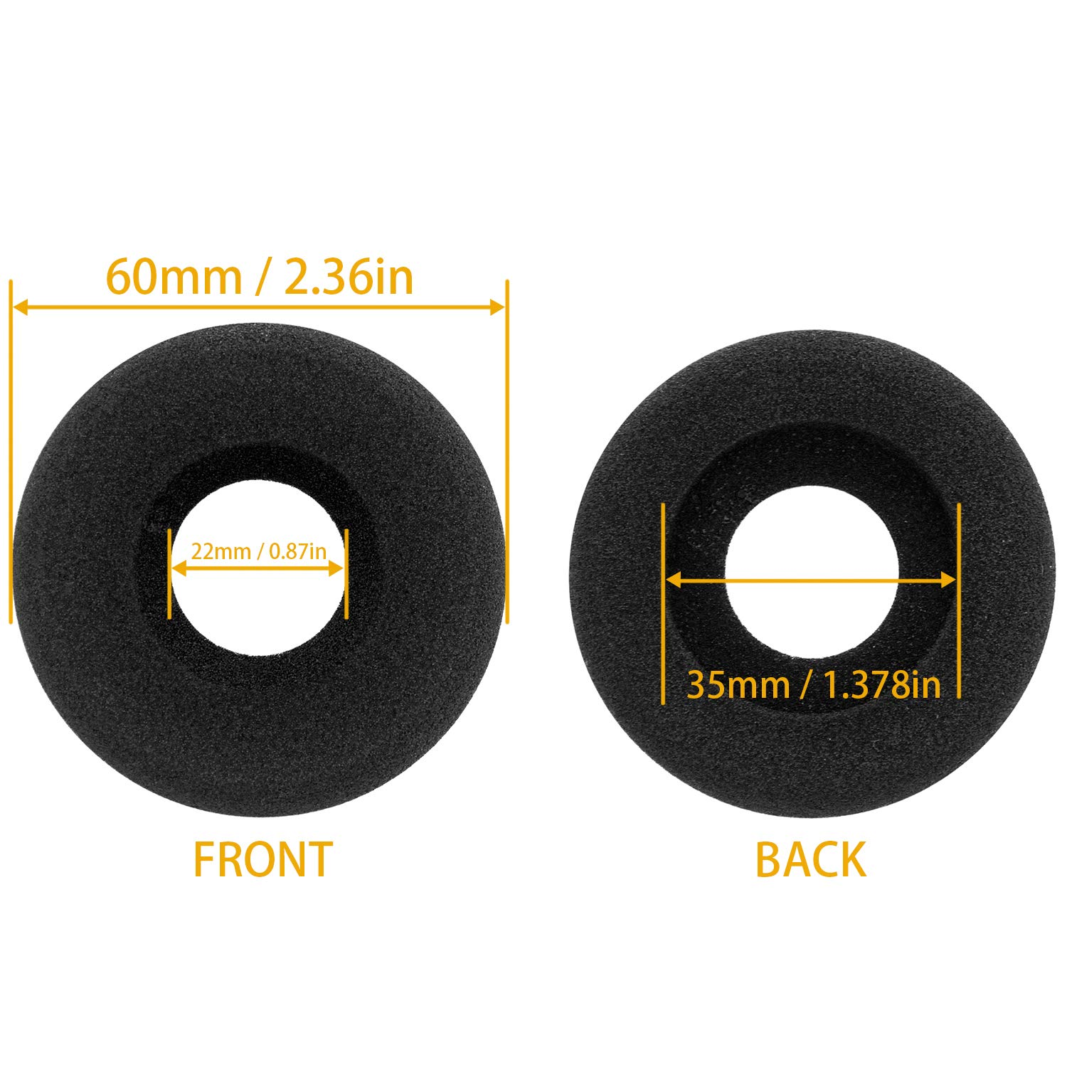 Ear Cushions Foam Doughnut Replacement for Plantronics Supra Plus Encore and Most Standard Size Office Telephone Headsets H251 H251N H261 H261N H351 H351N H361 H361N 10 Pack