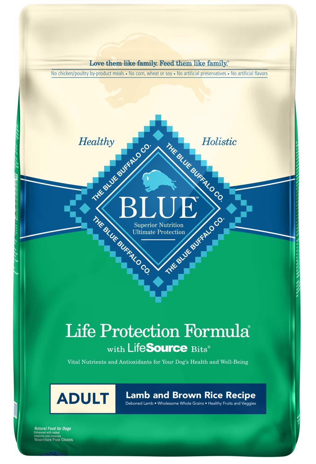 Blue Buffalo Life Protection Formula Adult Dog Food - Natural Dry Dog Food for Adult Dogs - Lamb and Brown Rice - 30 lb. Bag by Blue Buffalo