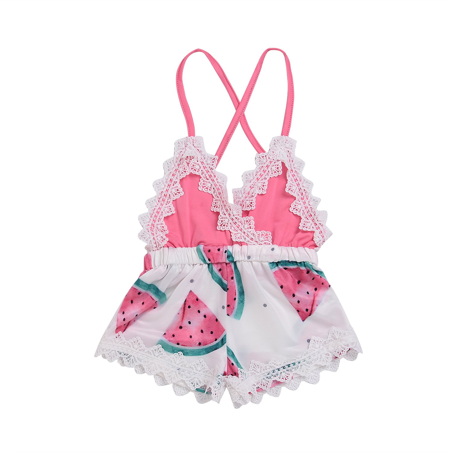 Toddler Baby Girl Clothes 2018 Summer Cute Watermelon Print Lace Trim Backless Romper Shorts Jumpsuit (Pink, 12-24 Months)