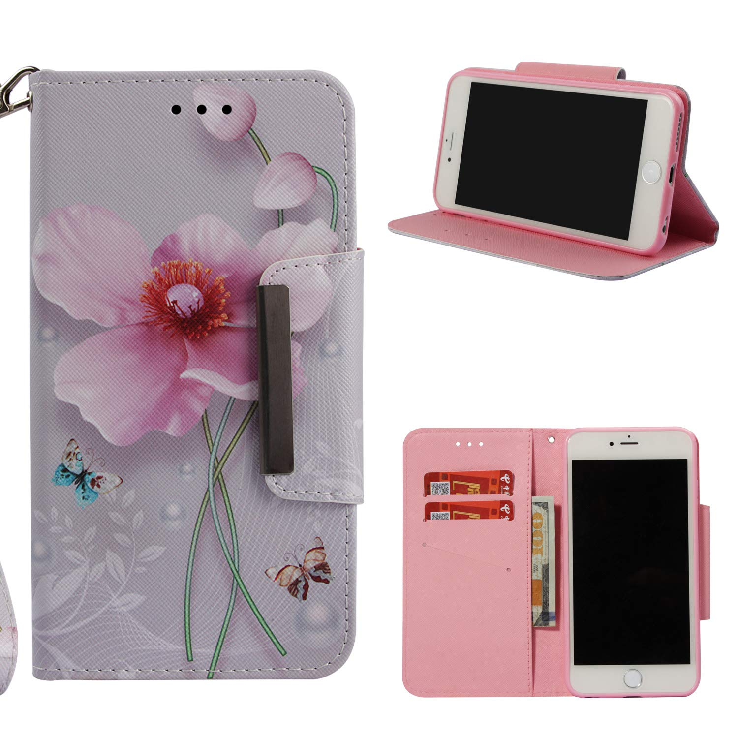 Leather Wallet Case for iPhone 6S Plus/iPhone 6 Plus,Shinyzone Colorful Flower Painted Pattern Flip Stand Case,Wristlet & Metal Magnetic Closure Protective Cover