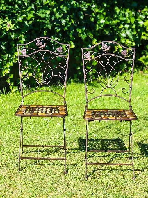 2X par Silla Silla de Asiento Bistro de Hierro Forjado de Piedra marrón Estilo: Amazon.es: Jardín