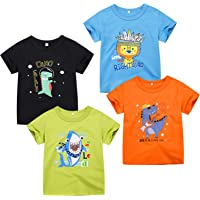 Kivors Boys' 4-Pack Short Sleeve Cotton T-Shirts Toddler Crewneck Graphic Tees Size for Kids 2-6 Years