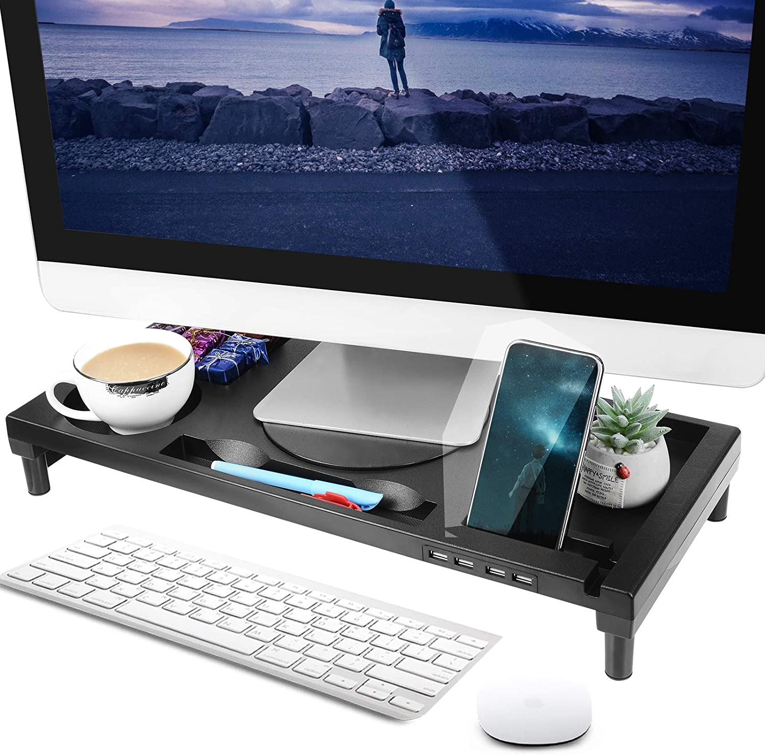 "Hikeyota Monitor Stand Riser, 20.7"" Monitor Stand for Laptop, Computer, Rotatable Laptop Stand Desk Organizer with Storage and Cable Management"