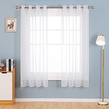 Deconoco Tende Trasparenti in Lino Camera da Letto Moderne per Casa con  Occhielli 132x160cm Bianco 2 Pannelli