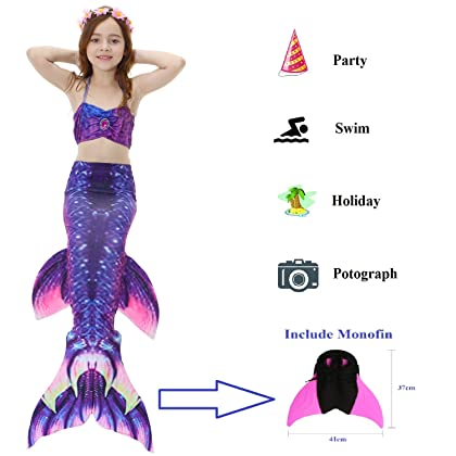 414a70b23df30 ... 5 Pcs Mermaid Tail Swimsuit Included Monofin and Flower Headband Wet Dry  for Kid ...