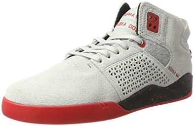 Supra Men's Skytop III Grey/Black/Red 7.5 Women/6 Men ...