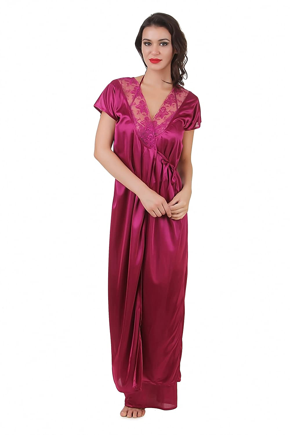 ac2f7ff7c5 Masha Women s Satin Nighty (NT2PC-A10-377  Jamuni  L)  Amazon.in  Clothing    Accessories