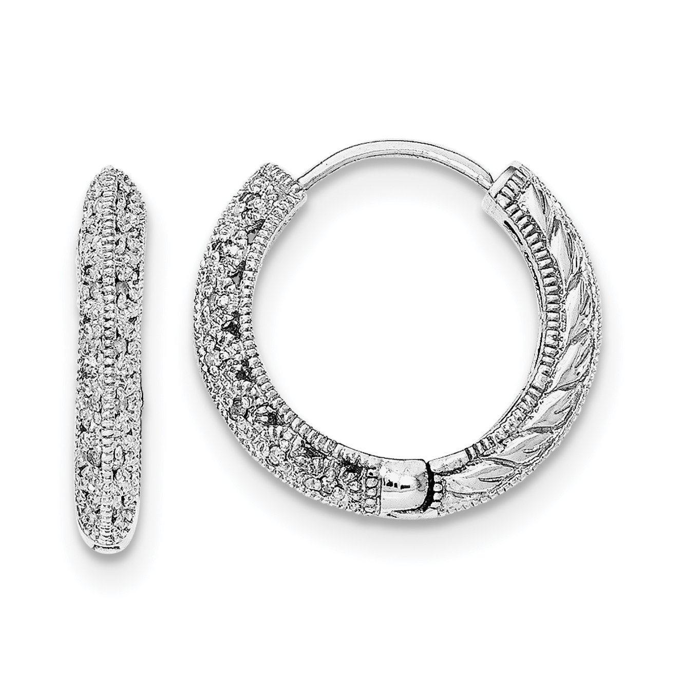 ICE CARATS 925 Sterling Silver Diamond Hinged Hoop Earrings Ear Hoops Set Fine Jewelry Gift Set For Women Heart