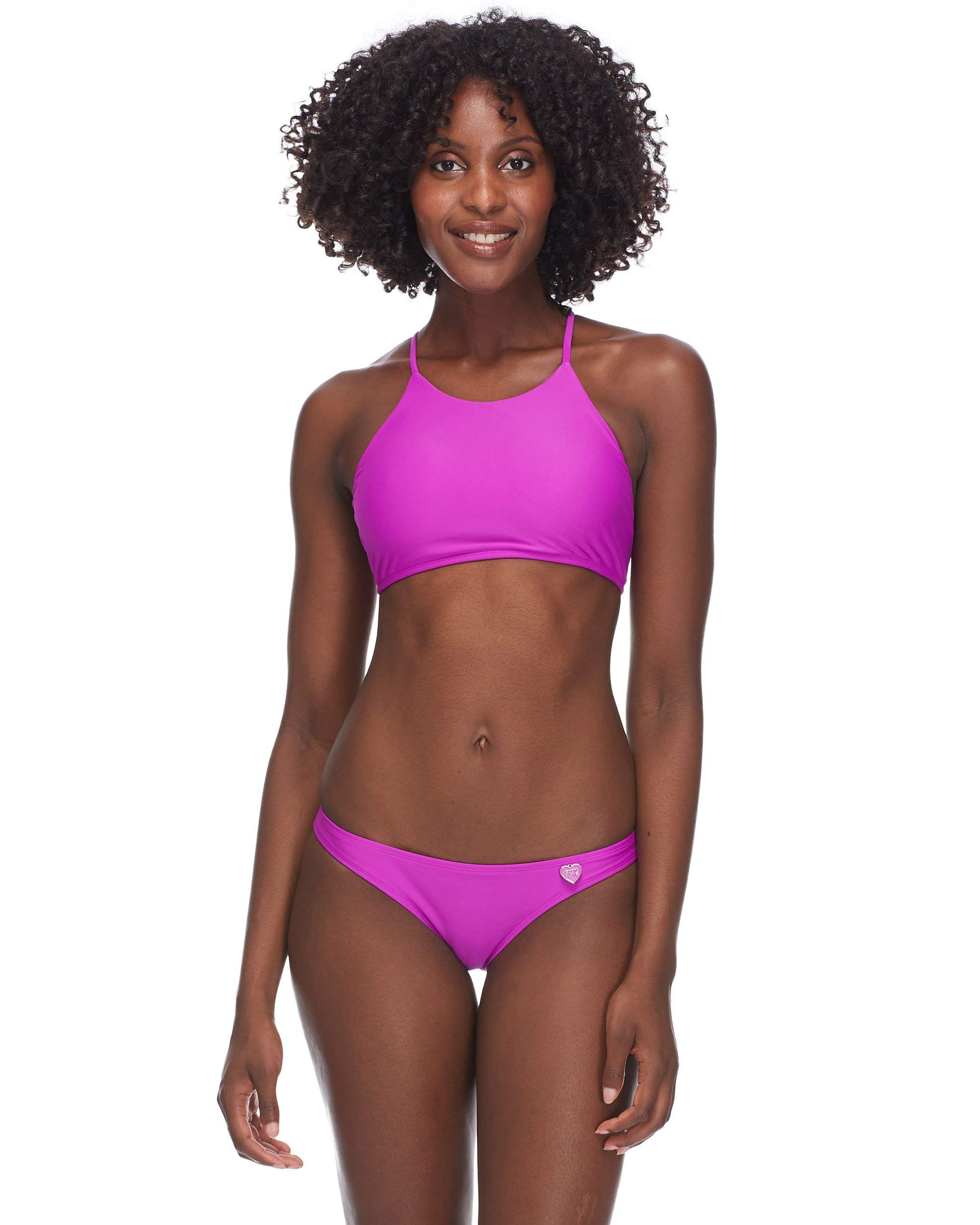 Body Glove Women's Smoothies Elena Solid High Neck Crop Bikini Top Swimsuit, Magnolia, Large