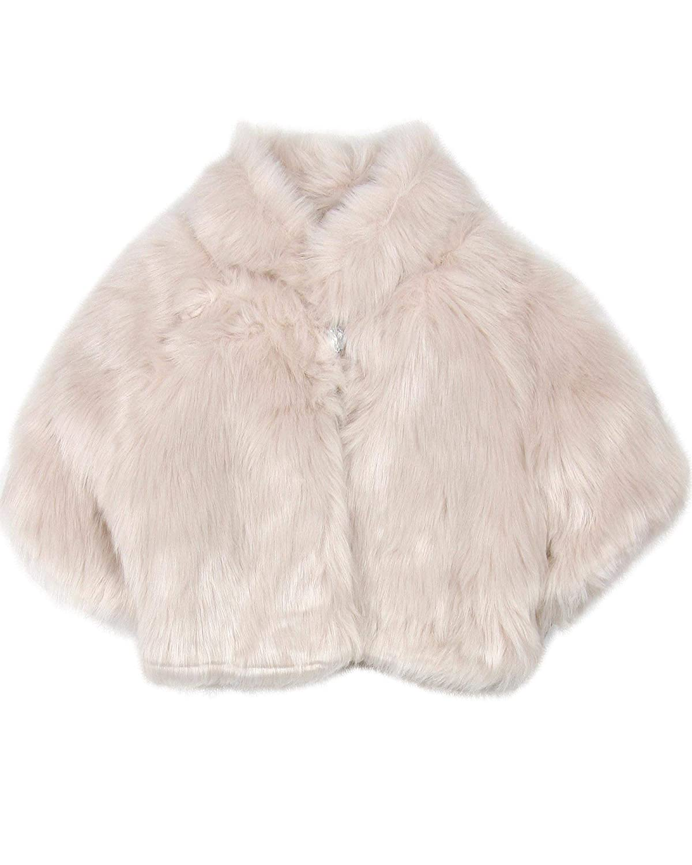 Biscotti Girlss Fake Fur Shrug in Champagne Sizes 4-16
