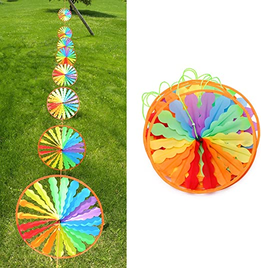 Kimnny Molinillo de Viento, 8 Piezas de Molino de Viento arcoíris para decoración de jardín o jardín: Amazon.es: Hogar
