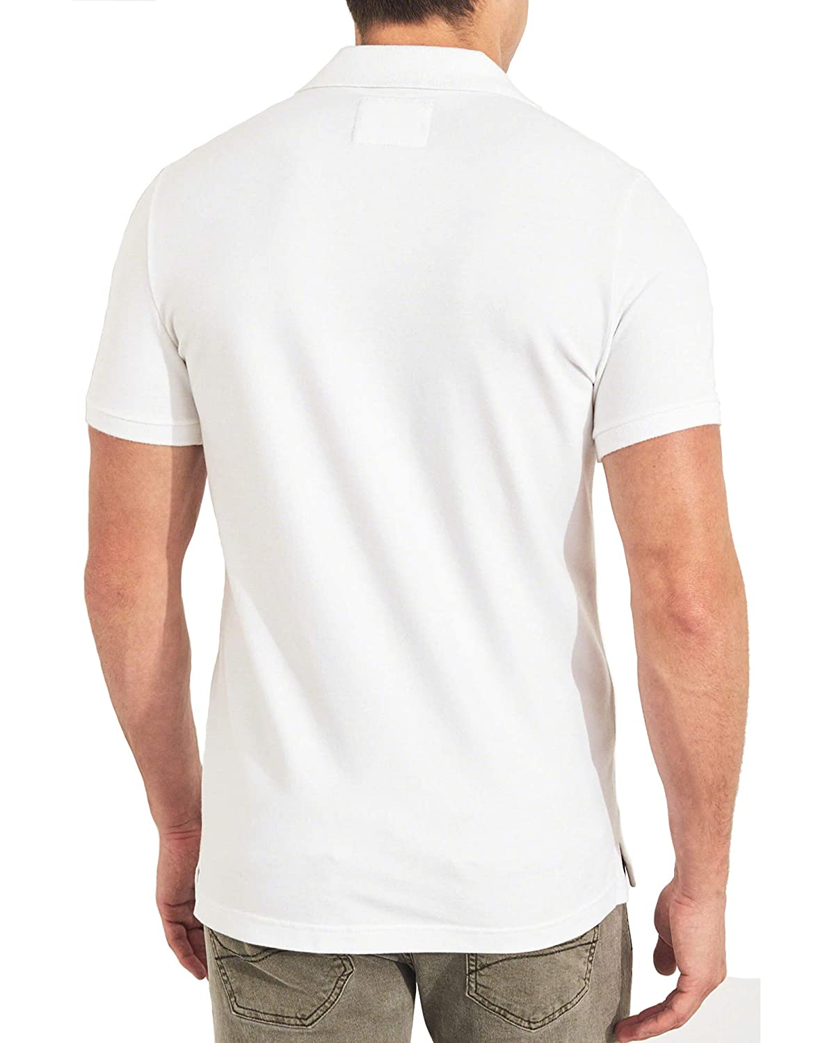4d0d4454 Hollister Men's White Muscle Fit Polo Shirts Medium at Amazon Men's  Clothing store: