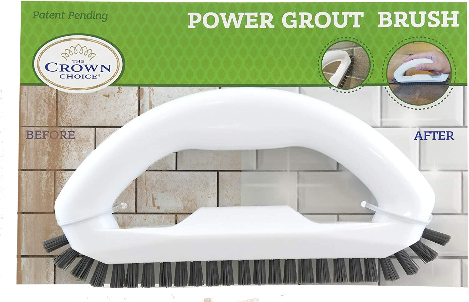 Grout Cleaner Brush with Stiff Angled Bristles. Best Scrub Brushes for Shower Cleaning, Scrubbing Floor Lines and Tile Joints | Bathroom, Showers, Tiles, Seams