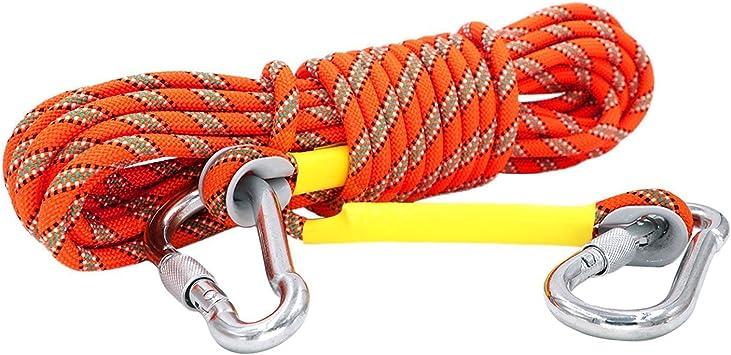 Cuerda de escalada estática con 2 mosquetones, sirve también como cuerda de columpio o cadena para los perros, de color naranja, 25 KN, 12 mm (10 m, ...