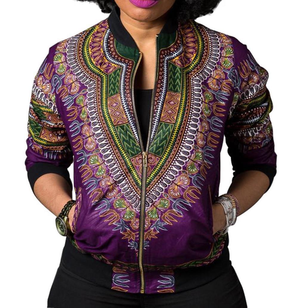 Longra Women Dashiki Long Sleeve Fashion African Print Short Casual Jacket Trench Coat Women Camel Women's Navy Pea(Purple,S)