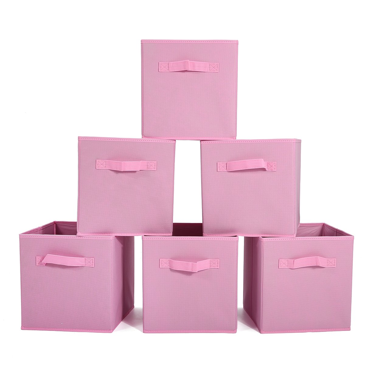 GEMITTO Pack of 6 Non-Woven Fabric Storage Cubes Foldable Cloth Storage Bins Baskets with Handles for Closet Nursery Pink