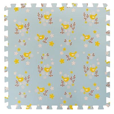 6 Grande Tapis de jeu en mousse souple pour les enfants et bébés - 6 tapis bleus assemblables avec des oiseaux jaunes
