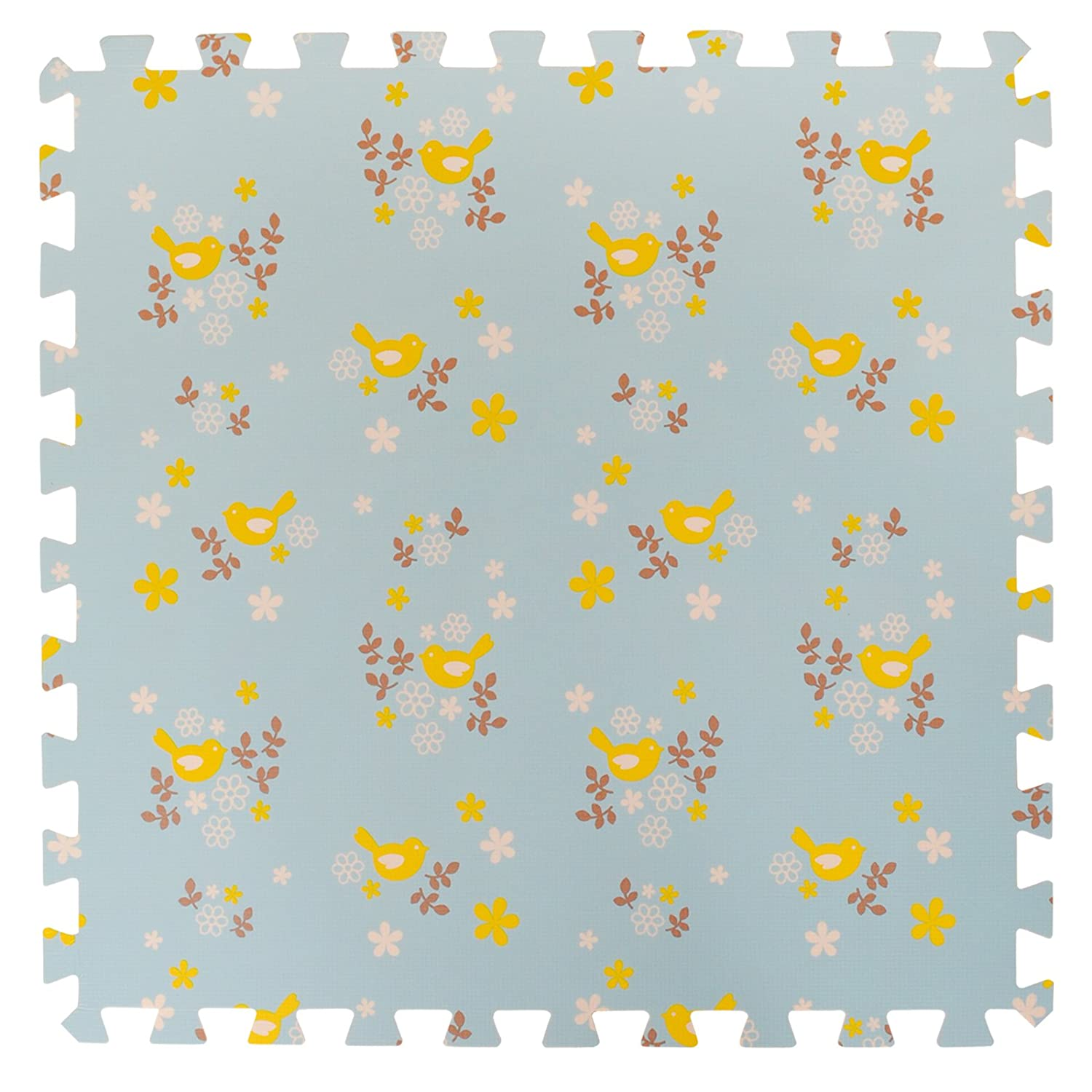 4 Large Children's Blue Foam Play Mats with Edges - 4 Large Soft Interlocking Floor Mats with Yellow Bird Pattern for Children. Each tile 60 x 60cms. Total 1.2m2. For the Love of Leisure