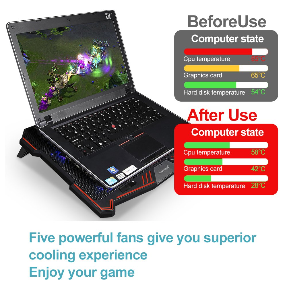 Laptop Cooling Pad BUJIAN 5 Ultra Quiet Fans and Red Led Lights with 13 Wind Speed (2600-5000RPM) and Ultra-Slim and Skid Proof Design for 12-15.6 Inch Laptop (S-X5) by BUJIAN (Image #3)