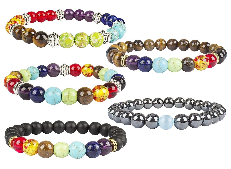 c381999542 Amazon.com  YISSION 5 Pack Gemstone Bracelet Stones Stretch Bracelets Yoga  Essential Oil Diffuser Beads Lucky Bracelet  Jewelry