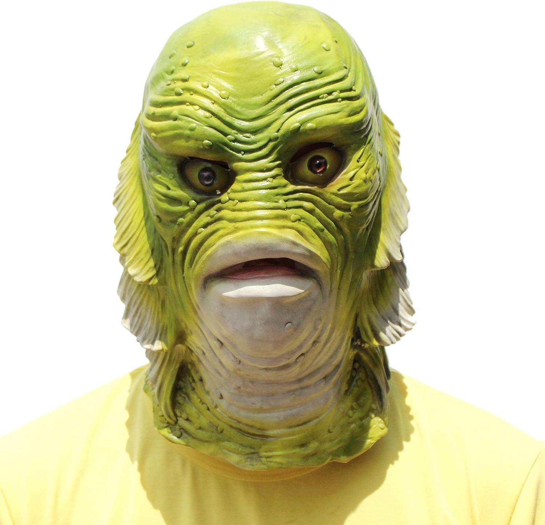 divertido disfraz de cosplay Hinder M/áscara de pescado accesorio para la cabeza decoraci/ón de cara de l/átex espeluznante fiesta de peces casco unisex para carnaval