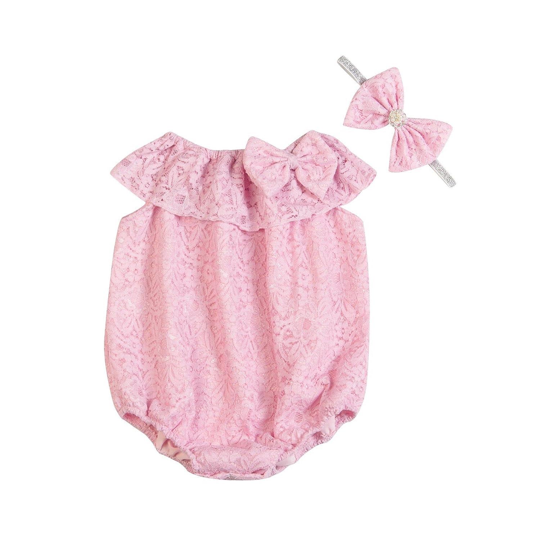 Unique Baby Girls Seaside Bella Romper /& Headband Set