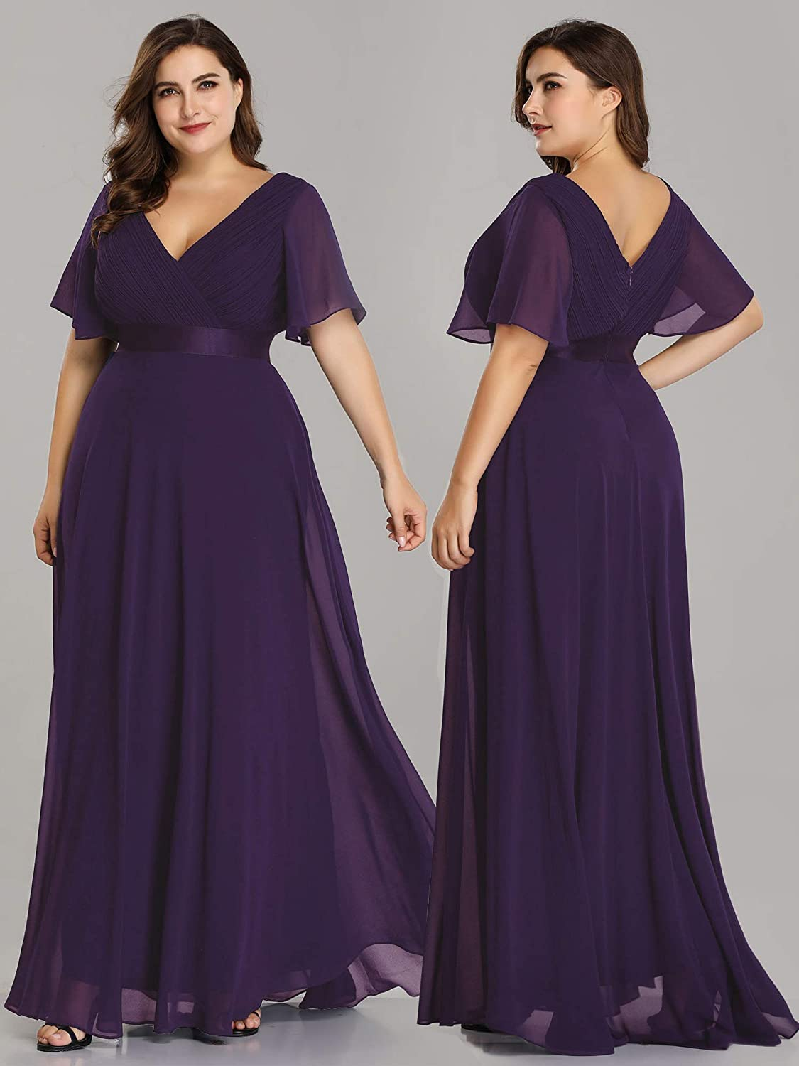 Ever-Pretty Womens Elegant Double V Neck A Line Empire Waist with Short Sleeve Long Chiffon Plus Size Bridesmaid Dresses 09890PL