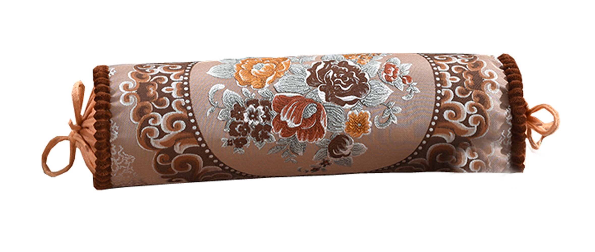 Peacewish Luxurious Europe Style Cylindrical Neck Pillow Cylinder Bolster Pillow Long Sofa Pillow Candy Pillow Nap Containing Core (Coffee)