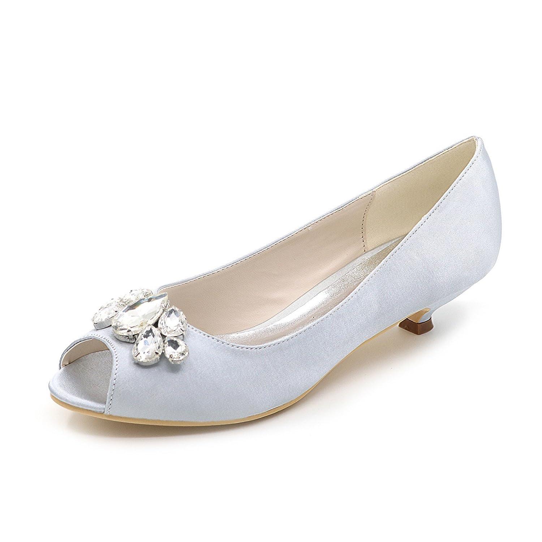 Qingchunhuangtang@ Mujeres Bombas Peep Toe Vestidos Boda Noche Tacón Zapatos de Corte,Plata,40 40 Silver