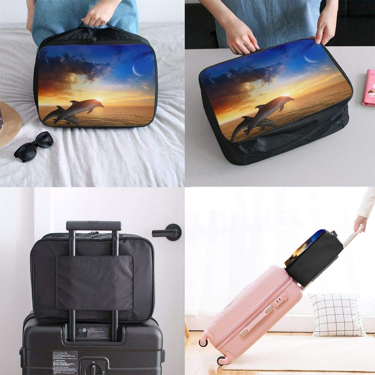 ADGAI Ocean Wave Dolphins Canvas Travel Weekender Bag,Fashion Custom Lightweight Large Capacity Portable Luggage Bag,Suitcase Trolley Bag 2