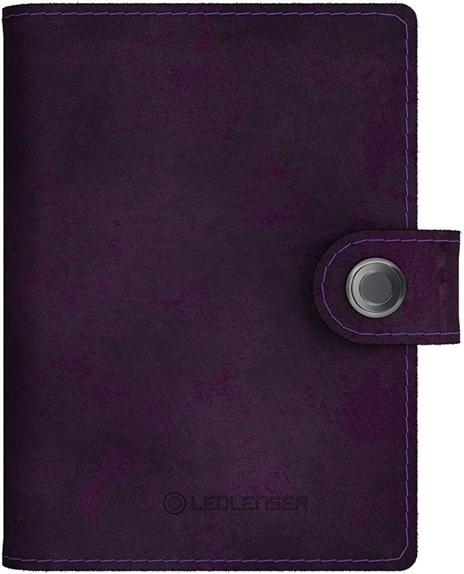 RFID-Blocker zum Schutz pers/önlicher Daten Edler Kartenhalter aus hochwertigem Leder Lite Wallet Matte Deep Wine Integrierte LED-Lampe mit Zwei Lichtst/ärken