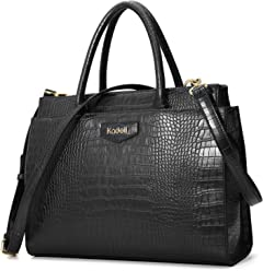 Kadell Women's Leather Designer Handbags Crocodile Embossed Shoulder Bag Satchel for Ladies