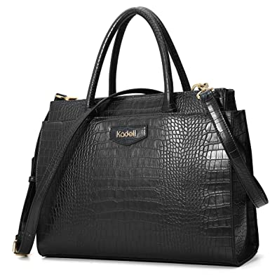 Kadell Women s Leather Designer Handbags Crocodile Embossed Shoulder Bag  Satchel for Ladies Black fcd8d3f977