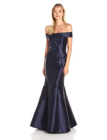 Xscape Womens Long Mikado Off The Shoulder Mermaid Gown, Navy, ...
