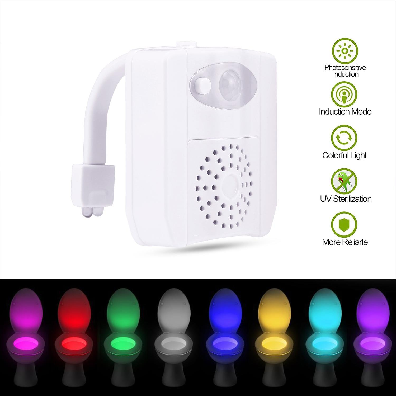 Toilet UV Light Toilet Night Light Motion Sensor with 16 Colors Changing Night Light,Toilet Bowl Light for Any Toilet TM 2018 Upgrade niceEshop Toilet Night Light