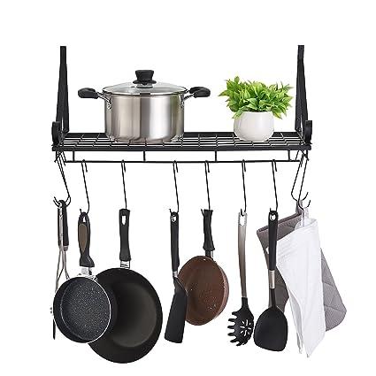 FaithLand Kitchen Wall Pot Pan Rack with 10 Hooks, Pot Holders, Kitchen  Shelves Wall Mounted, Wall Storage Organizer Shelves Rack, Black
