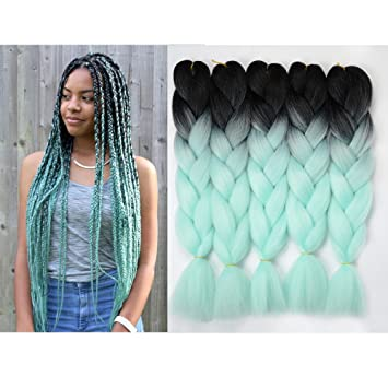 Hair Extensions & Wigs Jumbo Braids Xtrend 3pcs Black Green Ombre Braiding Hair Extensions 24 Synthetic Jumbo Braids Crochet Hair For Women High Temperature Fiber Sale Price