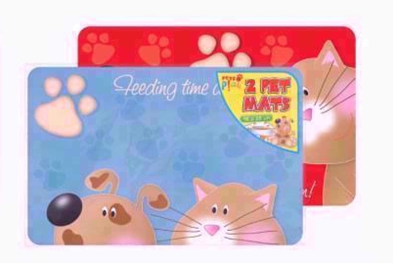 2 X PET DOG CAT FEEDING PLACEMATS MATS 2 DIFFERENT DESIGNS 43.5 X 28 CM APPROX