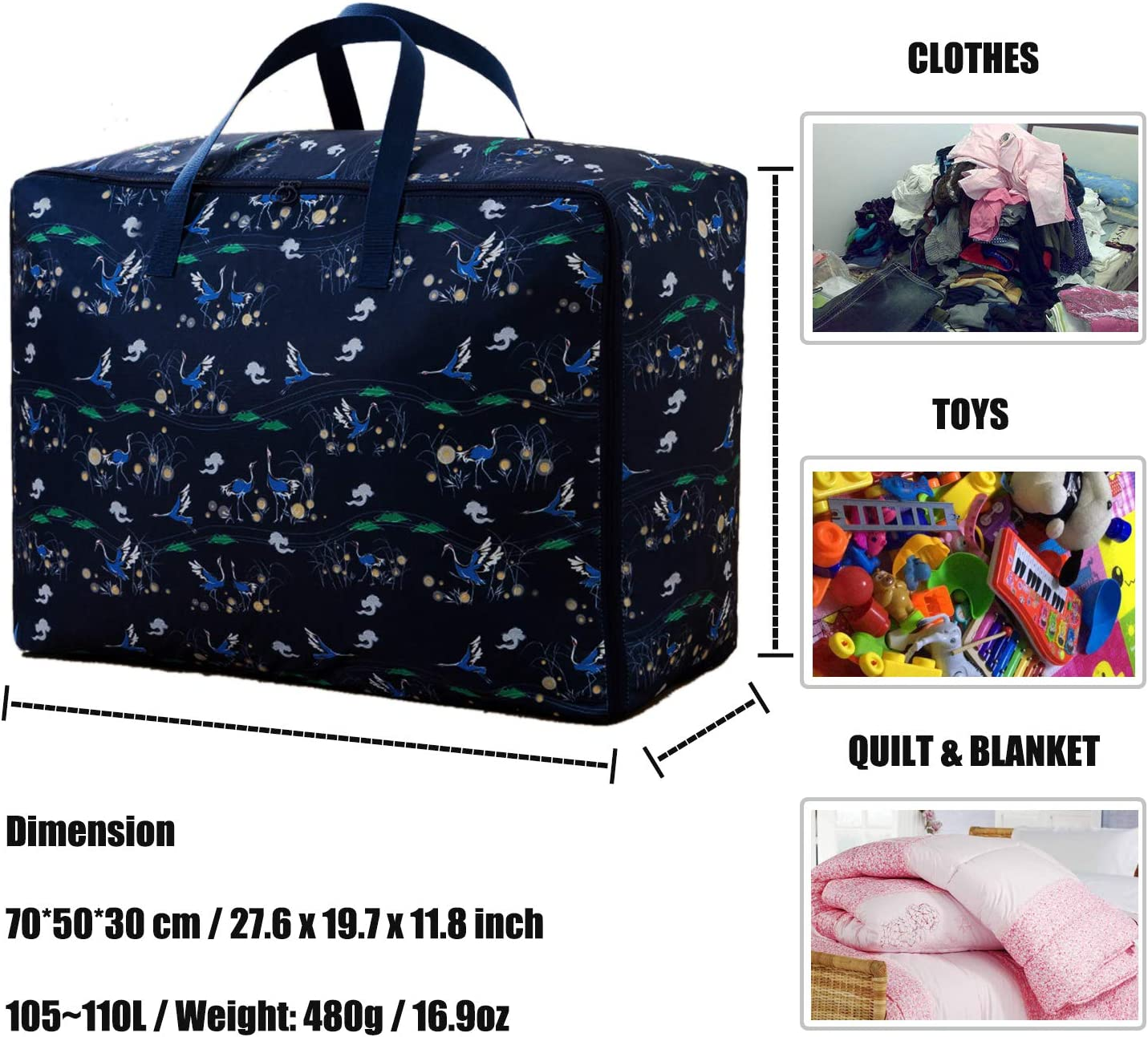 Duvets Ideal for Bedding Clothes or Moving Home Pillows KXF 110L Large Storage Bag with Zip Waterproof Sturdy 600D Oxford Organizer Bags Fabric Clothes Bag Under Bed Storage Travel Duffel Bag